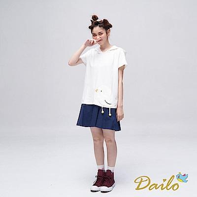 Dailo INLook 格紋口袋拼接小圓褲裙(藍色)