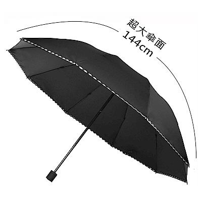 2mm 巨無霸大傘面 格紋邊條黑膠降溫手開傘 (黑色)