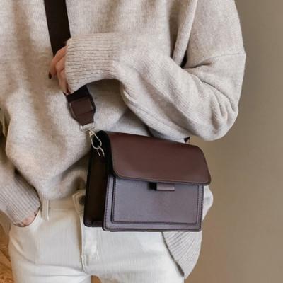 iSPurple 漫步首爾 復古皮革寬肩背小方包 3色可選