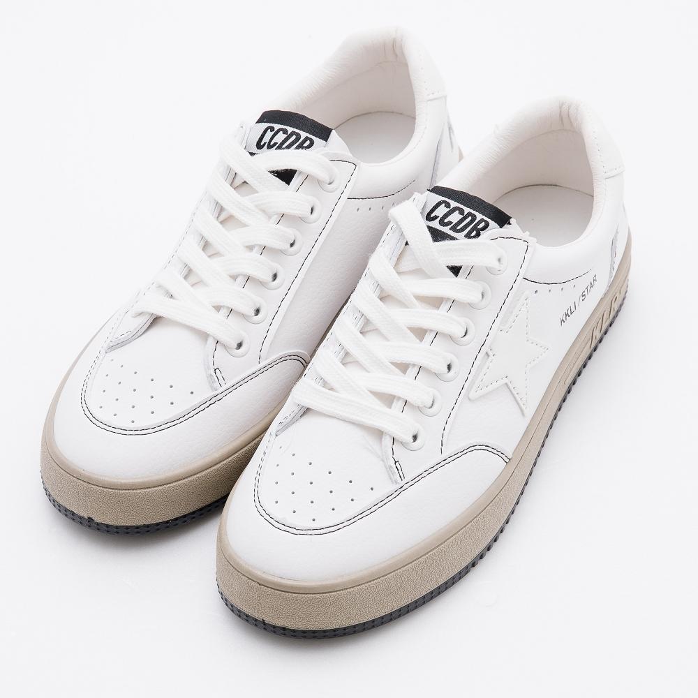 River&Moon韓式真皮綁帶側星星休閒鞋 白星