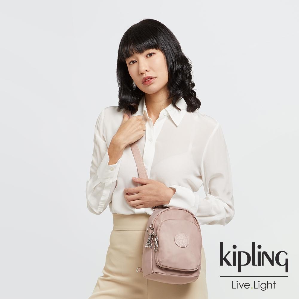 Kipling 溫柔沉穩粉休閒後背包-DELIA COMPACT