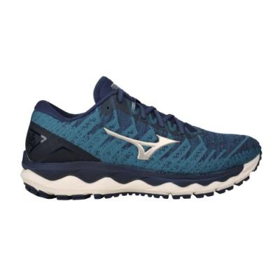 MIZUNO WAVE SKY 4 WAVEKNIT男慢跑鞋-避震 路跑 美津濃 J1GC202548 墨藍香檳金
