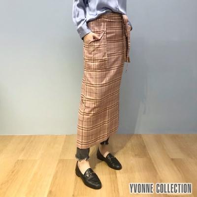 [18元加購] YVONNE COLLECTION 毛呢格紋半身料理圍裙-(粉/綠:顏色隨機)
