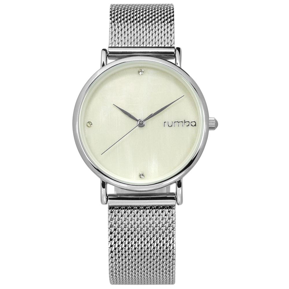rumba time 紐約品牌 珍珠母貝 晶鑽 米蘭編織不鏽鋼手錶-米白色/32mm