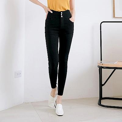 高腰收腹排釦鬆緊腰頭純色彈力窄管褲-OB大尺碼