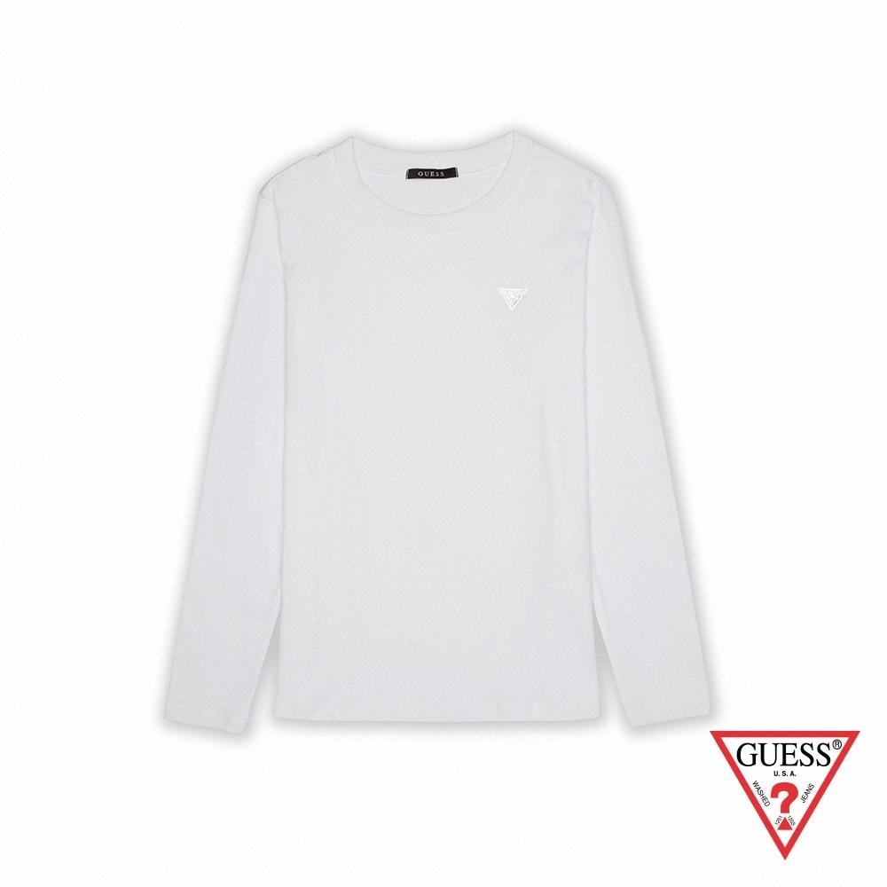 GUESS-女裝-簡約素色小LOGO長袖上衣-白