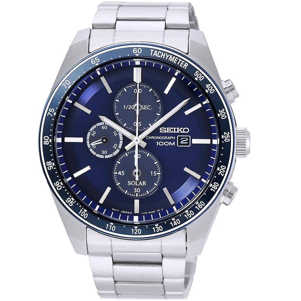 SEIKO 精工太陽能計時手錶SSC727P1-藍X銀/44mm