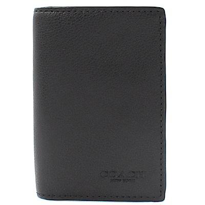 COACH烙印LOGO牛皮卡片名片夾(黑)