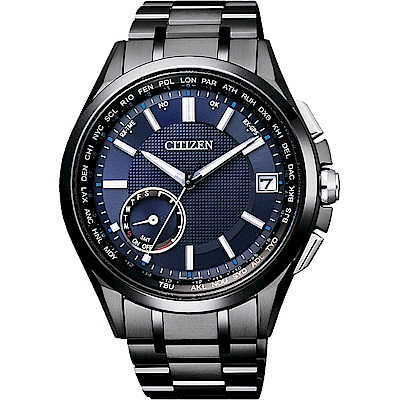CITIZEN GPS光動能衛星對時鈦金屬限量錶-藍x黑/43m(CC3015-57L)