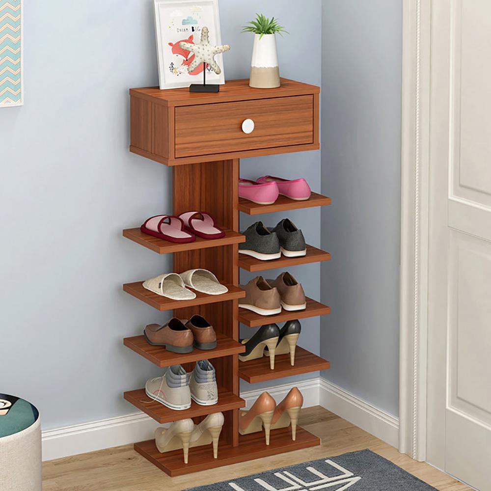 【Effect】簡約直立式歐風木紋收納鞋架(6層)