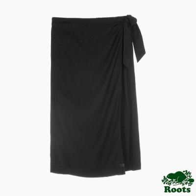 Roots 女裝- 摩登週間系列 綁帶亞麻長裙-黑色