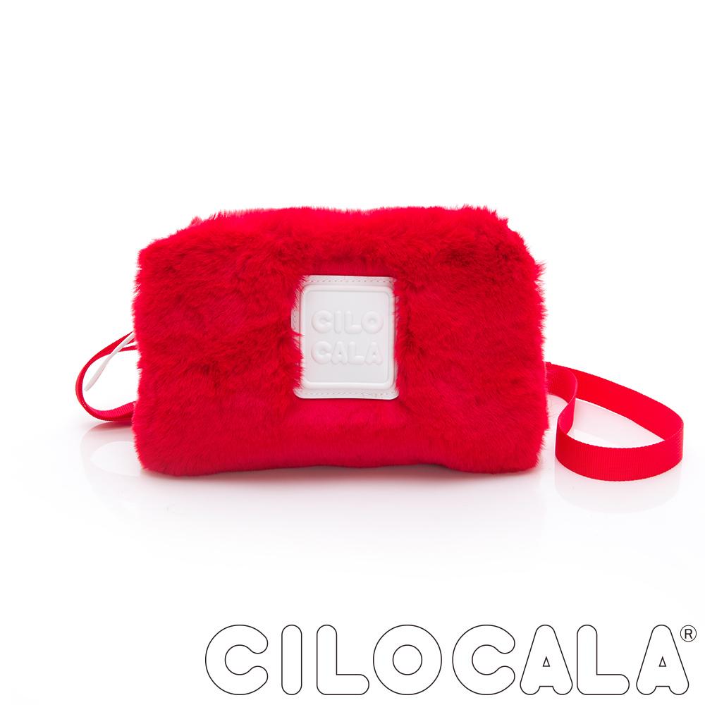 CILOCALA 限量版-亮彩尼龍毛毛防潑水方包 紅色