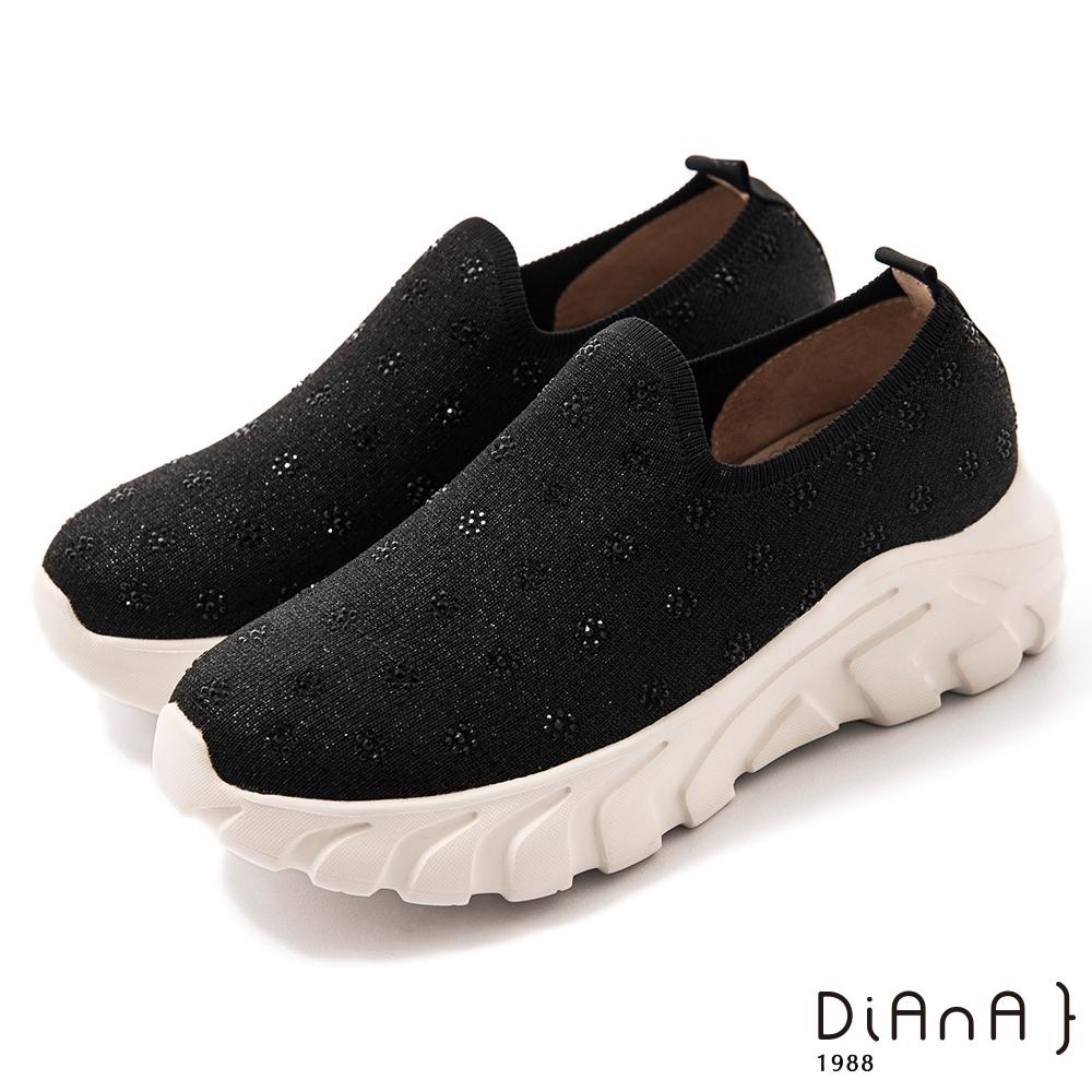 DIANA 5cm 彈性針織圈形水鑽飾輕量鞋底休閒鞋-漫步雲端焦糖美人–黑亮