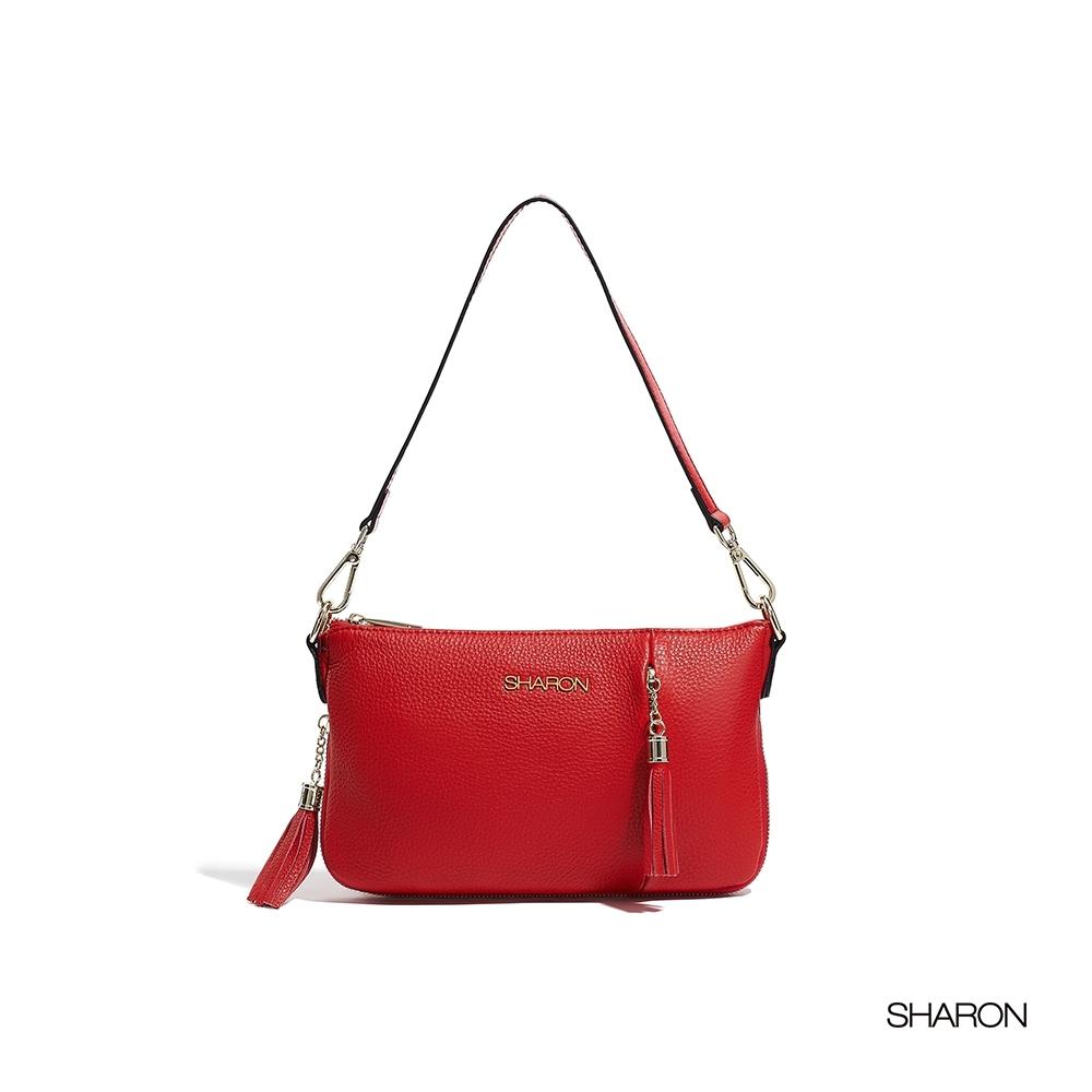 【SHARON 雪恩】頭層牛皮Dora軟皮流蘇小包(紅色33036RD)