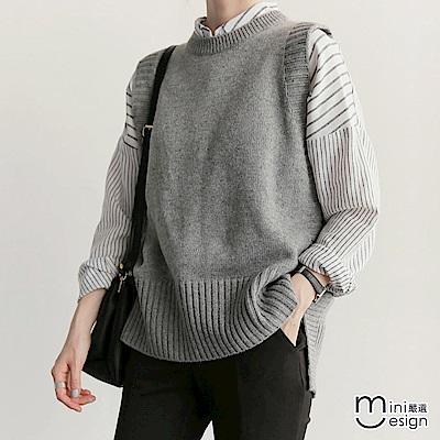 純色前短後長針織背心-灰色-mini嚴選