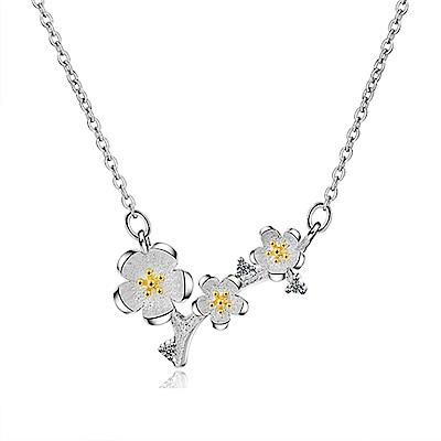 Angel 春乍現之櫻金白銀色鎖骨項鍊 銀色