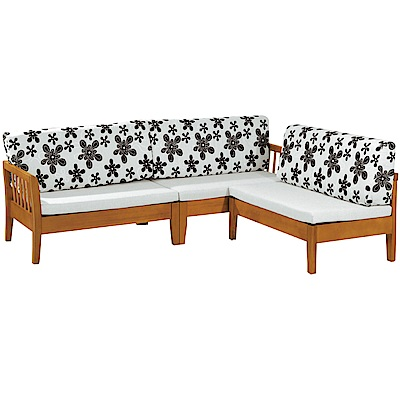 綠活居 麥尼典雅風亞麻布實木L型沙發椅組合(四人椅+椅凳)-240x189x92cm免組