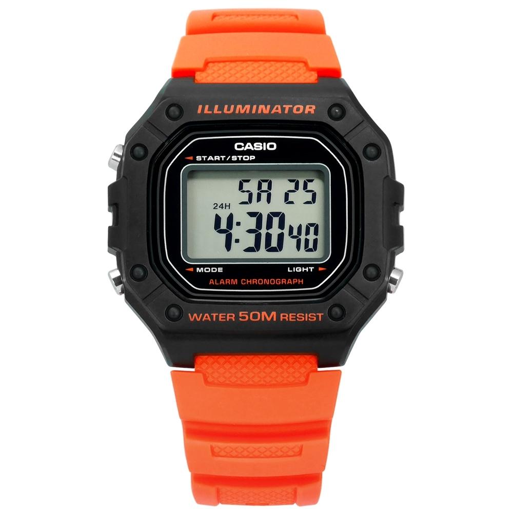 CASIO 卡西歐 復古計時橡膠手錶-橘色W-218H-4B2 42mm