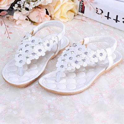 KEITH-WILL時尚鞋館 (現貨+預購) 璀璨年代花朵涼鞋-白