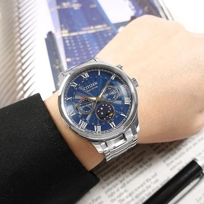 CITIZEN 光動能 月相錶 羅馬刻度 不鏽鋼手錶-藍色/42mm