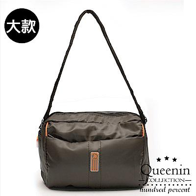 DF Queenin流行 - 日系甜美輕盈反光條防潑水斜背包-大-咖啡