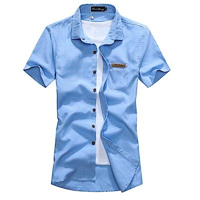BuyGlasses 皮標窄版素面短袖襯衫