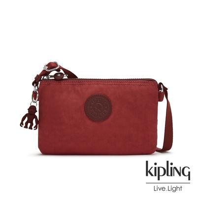 Kipling 微醺感胭脂紅三夾層配件包-CREATIVITY XB