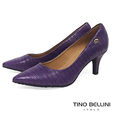 Tino Bellini巴西進口典雅編織壓紋跟鞋_紫