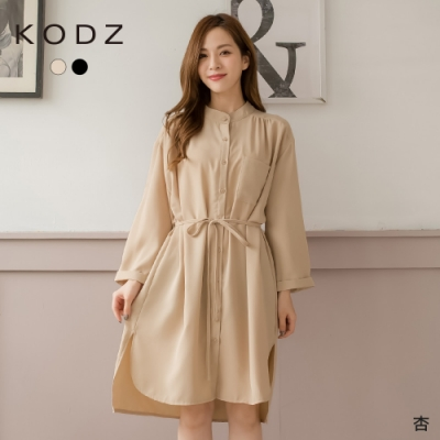 東京著衣-KODZ 休閒甜美側口袋腰綁帶襯衫洋裝