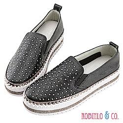 Robinlo & Co.個性滿版鉚釘牛皮厚底休閒鞋 黑