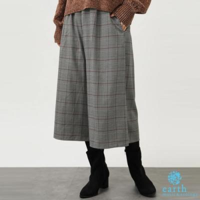 earth music ECOVERO環保素材素面/格紋寬褲裙