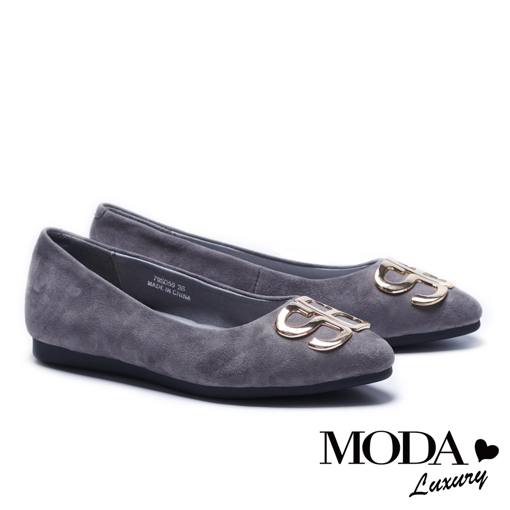 低跟鞋 MODA Luxury 摩登SB字母飾釦麂皮尖頭低跟鞋-灰