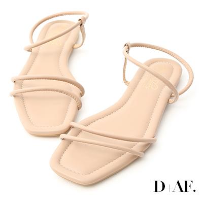 D+AF 清涼假期.二條細帶繞踝平底涼鞋*杏