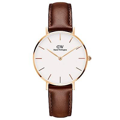 DW手錶 官方旗艦店 32mm玫瑰金框 Classic Petite 紅棕真皮皮革手錶