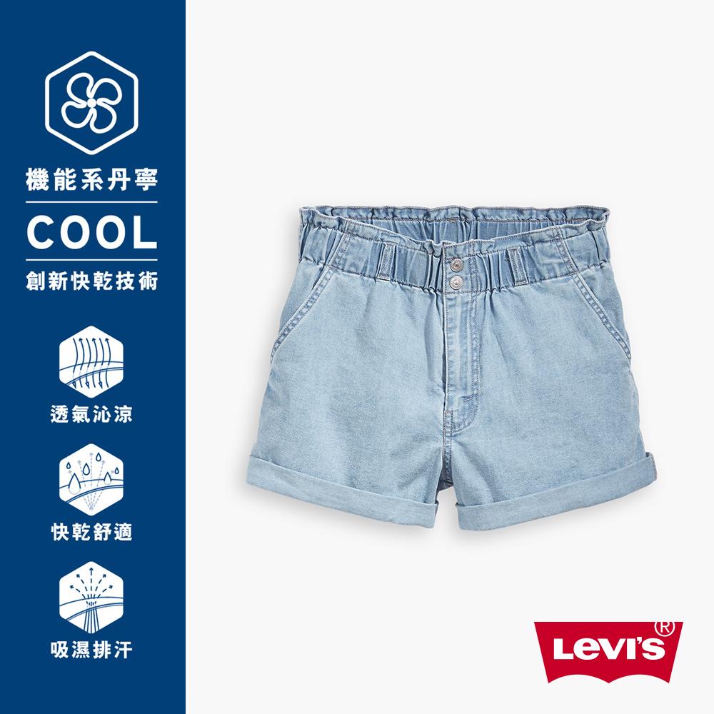 Levis 女款 牛仔闊腿短褲 吸濕排汗 Cool Jeans 小Logo刺繡布章