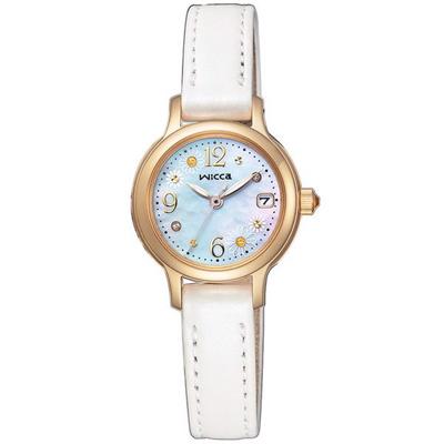 WICCA花漾真皮手錶(KH4-921-90)-白X金框/28mm