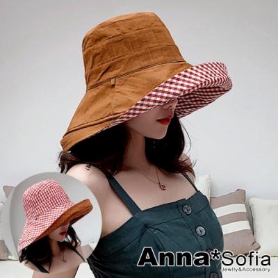 【滿額再75折】AnnaSofia 渡假格紋雙面戴超寬簷 棉麻遮陽防曬漁夫帽盆帽(磚橘系)