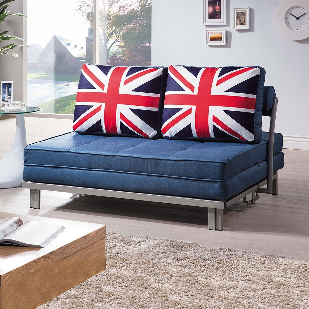 Boden-英倫風藍色布沙發床/雙人椅/二人座(送抱枕)