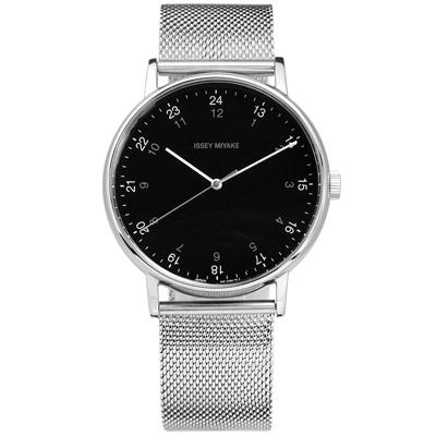ISSEY MIYAKE 三宅一生 F系列 日本製造米蘭編織不鏽鋼手錶-黑色/39mm