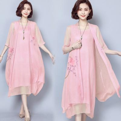 【韓國K.W.】(現貨)曼舞倩影桑蠶絲二件套洋裝外套-2色