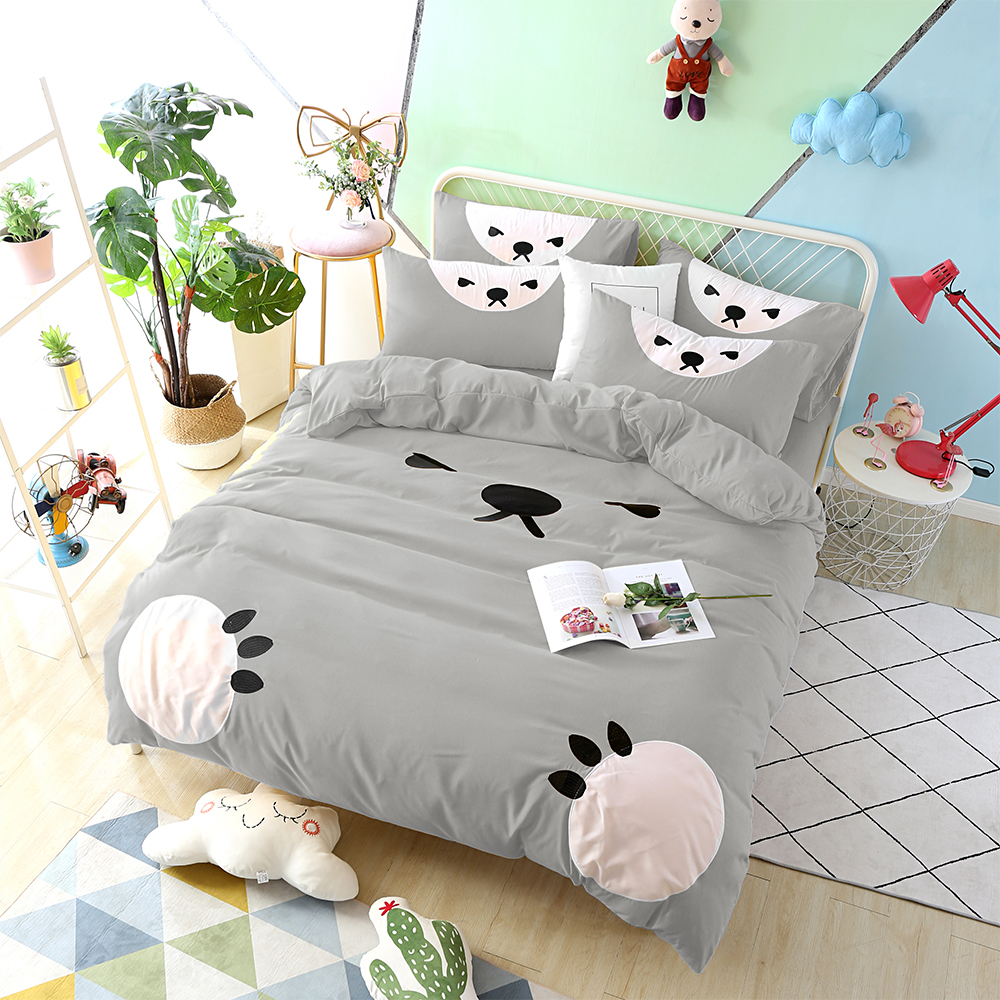 HUEI生活提案 柔絲絨被套床包四件組 加大 熊愛睏灰