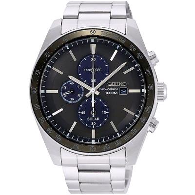 SEIKO 精工Criteria太陽能計時手錶SSC725P1-黑X銀/44mm