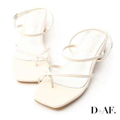 D+AF 輕夏自在.交叉細帶方頭低跟涼鞋*米白