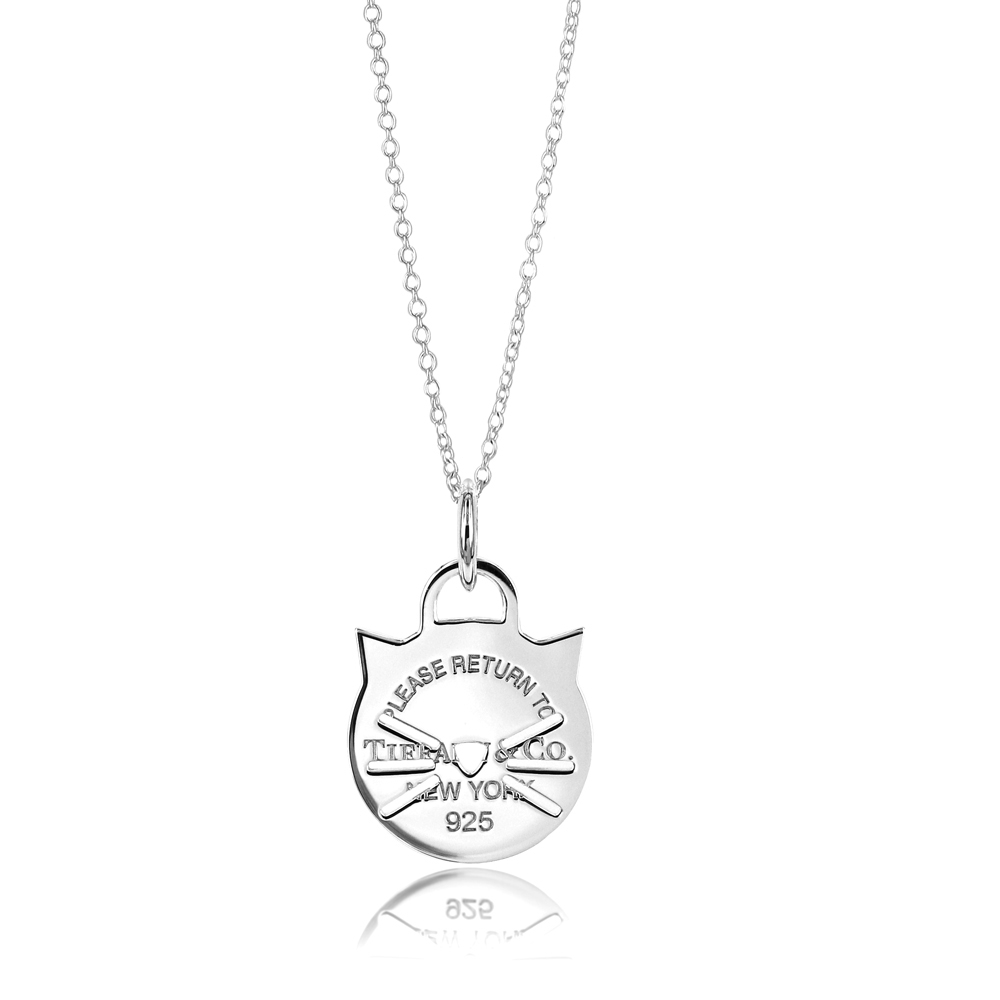 Tiffany&Co. 鏤空貓咪造型 925純銀項鍊