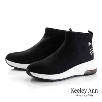 Keeley Ann輕運動潮流 彈力親膚水鑽貓中統休閒鞋(黑色-Ann系列)