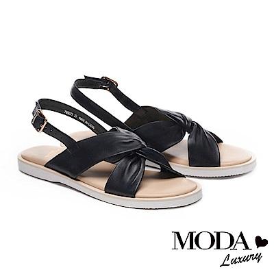 涼鞋 MODA Luxury 扭結藝術純色全真皮厚底涼鞋-黑