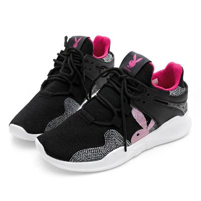 PLAYBOY率性焦點 針織布設計休閒鞋-黑桃