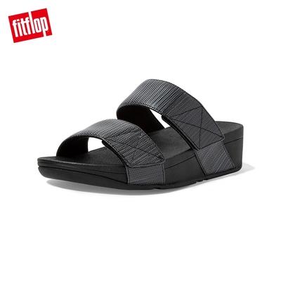 FitFlop MINA TEXTURED GLITZ SLIDES寬帶可調整式涼鞋-女(靓黑色)