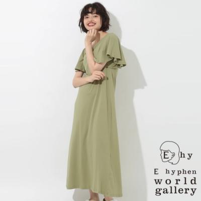 E hyphen 荷葉袖邊長版連身洋裝