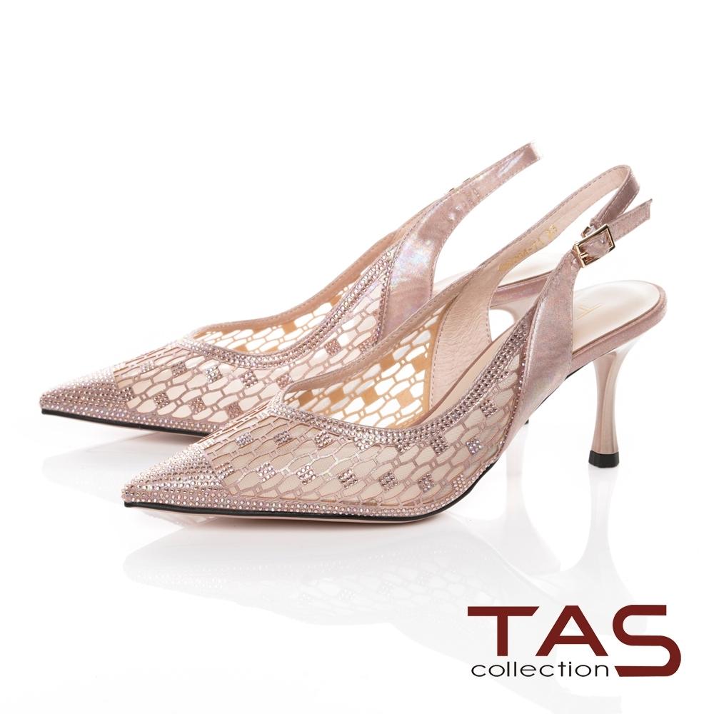 TAS質感透膚燙鑽高跟涼鞋-質感膚